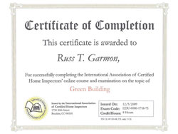 Home Inspection Certificates